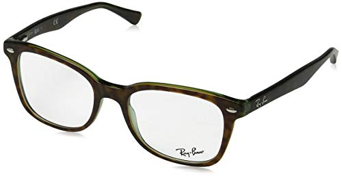 Ray Charles Glasses (Ray-Ban RX5285 Square Eyeglass Frames, Tortoise On Green Transparent/Demo Lens, 53)