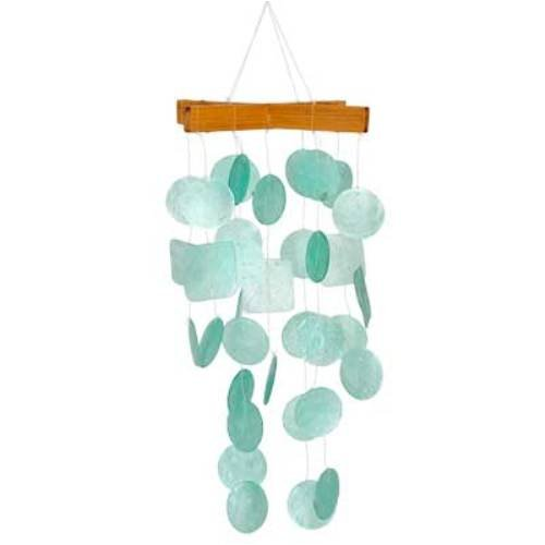 (Woodstock Chimes C139 Asli Arts Collection Mini Capiz Chime, Aqua )