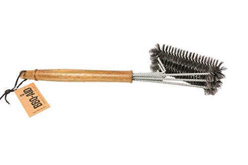 BBQ-Aid Grill Brush – Cleans All Angles, Extended, Large Wooden Handle and Stainless Steel Bristles – No Scratch Cleaning for Any Barbecue or Grill: Char Broil & Ceramic by BBQ-Aid (Image #6)