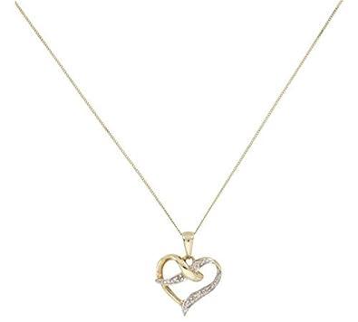 11651ca68332f Revere 9ct Gold Diamond Accent Heart Pendant: Amazon.co.uk: Jewellery