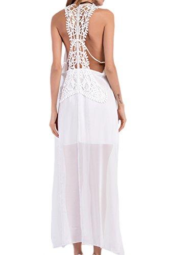 Sin mangas de Boho Backless Vestido de playa larga-vestido de noche de las mujeres White
