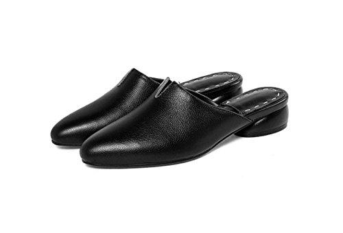 MSM4 Zapatillas Gris De Negro Tacón Blanco Mocasines Rosa Bajo Sandalias Black Muke Cuero Con Mujer Puntiagudo gr5Fqg
