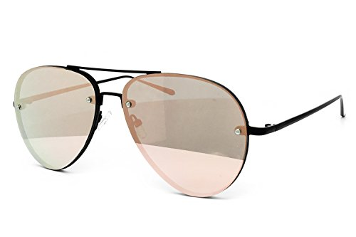 O2 Eyewear 7191 Premium Oversized Flat Rimless Aviator Mirrored Revo Metal Sunglass (Rimless, ROSE - Sunglasses Flat Rimless