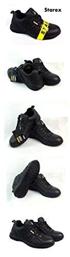 Mens Formadores Zapatos Botas de seguridad puntera de acero de trabajo tobillo de excursionista, piel sintética, SW-Grey/Black, 6 Black/Black