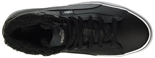 Puma Unisex-Kinder 1948 Mid Vulc fur Low-Top Schwarz (puma black-steel gray 05)