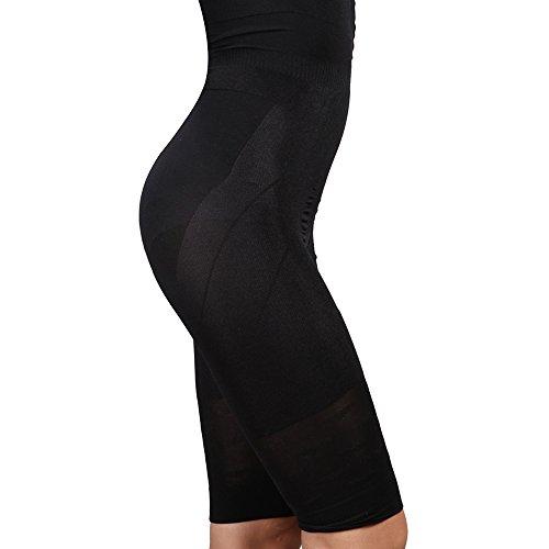 Vansop Womens High Waist Thigh Slimmer Shapewear Fat Burning Slimming Body Shaper Bodysuit Plus Size Pants(Black XXXL)