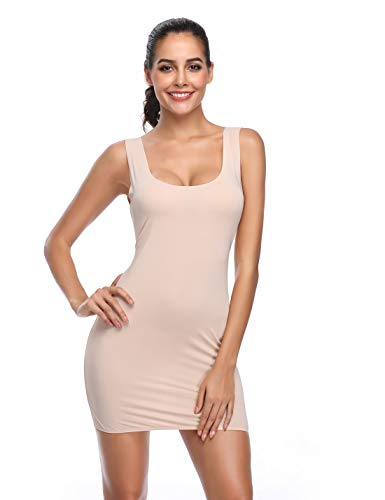 - Full Slips for Under Dresses Seamless Body Shaping cami Scoop Neck Long Tank Dress