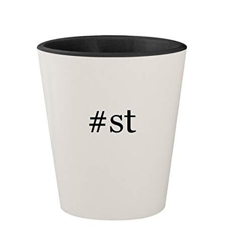 #st - Ceramic Hashtag White Outer & Black Inner 1.5oz Shot Glass
