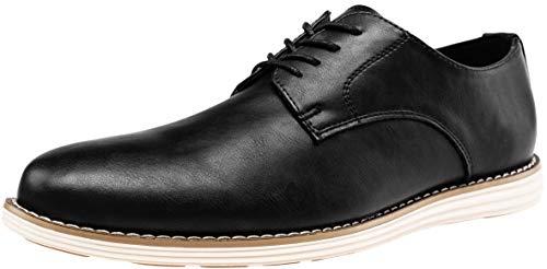VOSTEY Men's Oxford Plain Toe Dress Shoes Business Casual Shoes (8,Black-02)