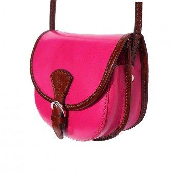Round brown Crossbody Leather Mini Fuchsia Italian Handbag Shoulder LaGaksta vqwfg8