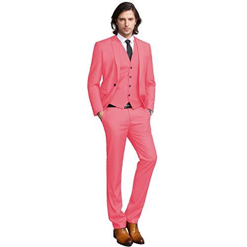YIMANIE Men's Slim Fit 3-Piece Suit One Button Formal Business Wedding Party Blazers Vest Flat Front Pants Set