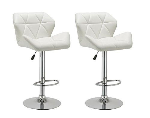 Duhome 2 pcs Luxury Modern White Synthetic Leather Swivel Bar Stools Kitchen Counter Island Pub Stool For Sale