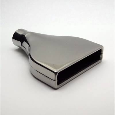 Polished Stainless Steel Rectangular Straight Cut Rolled Edge Tip 2.25