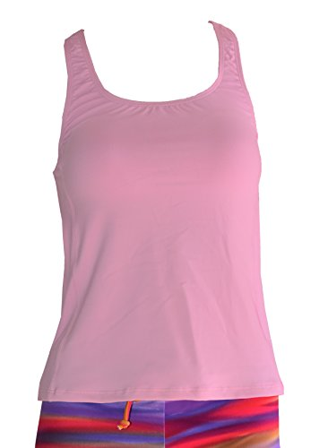 Private Island Hawaii UV Women Rash Guard Tankini Top Under Bra (Small, Pink)