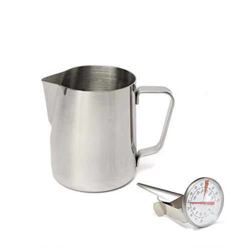 CHEFHUB 34 Oz/1000ml. Milk Pitcher & Thermometer Set Premium 18/8 Stainless Steel Milk Coffee Pitcher Latte Espresso Frothing Scale Jug Stainless Steel Espresso Pitcher Latte Frothing Pitcher ()