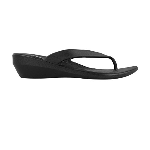 Okabashi Womens Lakeside Thong Flip Flop Sandals (Black, M) (Aspire Sandals)