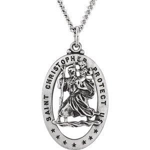 Ovale 29x 29x 20mm en argent sterling St. Christopher Médaille 61cm-Collier Femme