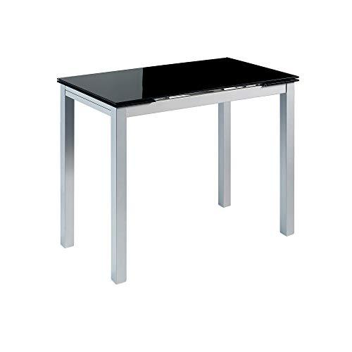 MOMMA HOME Mesa de Cocina Extensible - Modelo CALCUTA - Color Negro/Plata - Material Cristal Templado/Metal - Medidas 100/140 x 60 x 76 cm