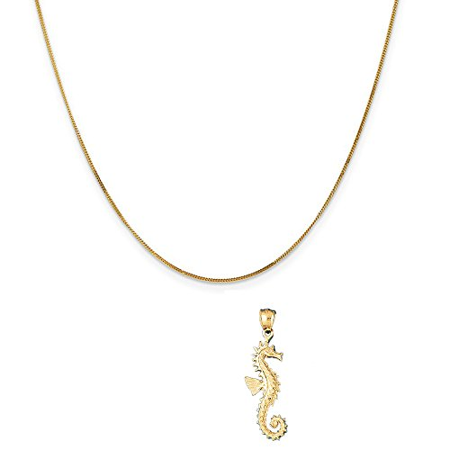 14k Yellow Gold Seahorse Pendant on a 14K Yellow Gold Curb Chain Necklace, 16'' by Eaton Creek Collection