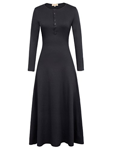Button Party Dress In Black (Kate Kasin Women's Casual Slim A Line Maxi Long Dress Black S KK0737 )