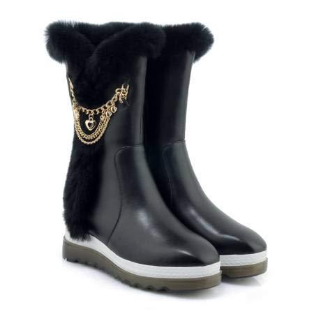 Nieve Fondo de La Botas Piel Grueso versión Invierno aumentadas cuña Coreana de Mujeres Casuales Torta Botas la Suelta la de de en Las de de Conejo TSNMNB Cuero Botas 35 Negro de Las 6dOqwPZaaX