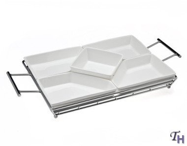 PIAZZA COLLECTION 5 SECTION RELISH SERVER WITH RACK