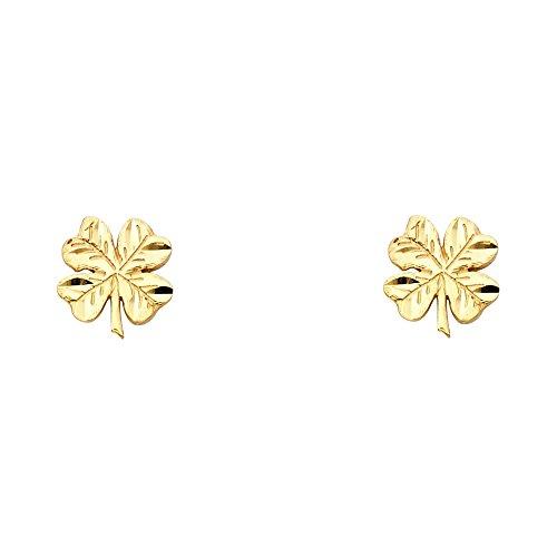 14k Yellow Gold Clover Crucifix Stud Earrings (8 x 10 ()