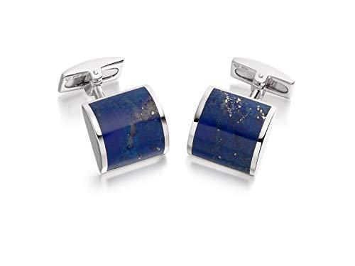 Hoxton London Men's Sterling Silver Lapis Lazuli Square Cufflinks
