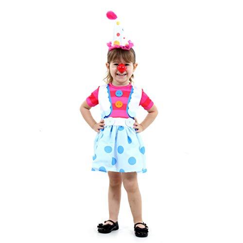 Fantasia Palhacinha Verão Infantil Sulamericana Fantasias Rosa/Azul 3 Anos