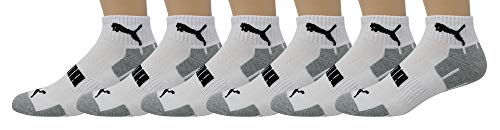 Puma Men's 6-Pack Quarter Crew Socks P112485, White/Grey, Sock 10-13 Shoe Size 6-12