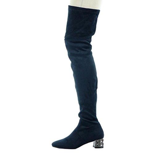 Angkorly Women's Fashion Shoes Thigh Boot - thigh boot - soft - jewelry Block high heel 4.5 CM Blue YM6vnpn