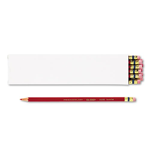 - Col-Erase Pencil w/Eraser, Scarlet Red Lead/Barrel, Dozen