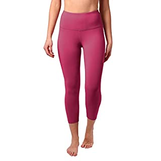 "90 Degree By Reflex High Waist Squat Proof Capris - 22"" Interlink Workout Capris - Pomberry - Medium"