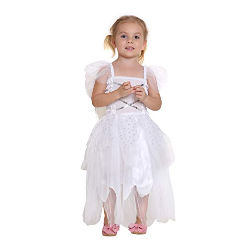 Girls Princess Fairy Wings Tutu Long Dress Birthday Party Costume Halloween, White 7-9 Year