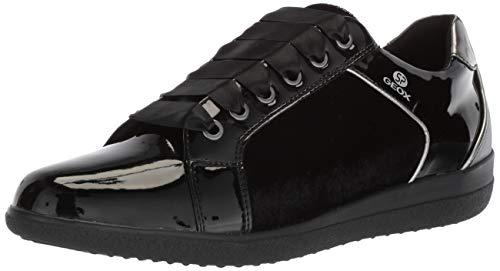 Geox Women's Nihal 6 Velvet & Patent Fashion Sneaker, Black, 40 Medium EU (10 US) ()