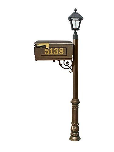 Mailbox w/Post Ornate Base & Solar Lamp, with Vinyl Numbers, Bronze ()