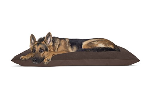 FurHaven Pet Dog Bed | Oxford & Suede Throw Pillow Pet Bed for Dogs & Cats, Espresso, Jumbo