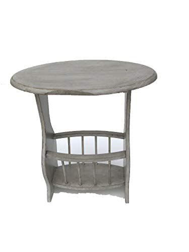Distressed White Magazine Table - White washed lamp Table with Magazine Rack