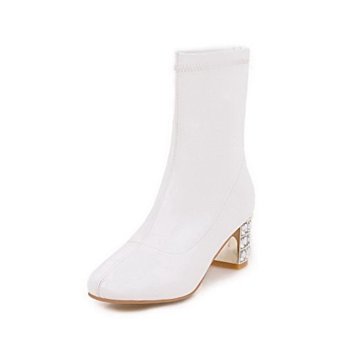 Women's Round PU Boots Low AgooLar Toe Zipper Heels White Closed Kitten top dfOqEw