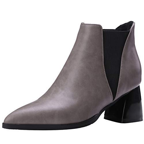 Ankle Zipper Boots Patent Heel cm Leather mid Womens Juguide Grey Jushee 6 nqv7FnY