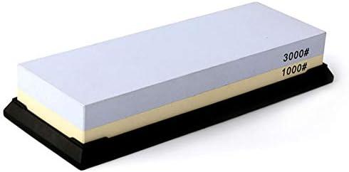 砥石、砥石3000/1000グリット両面水石ナイフ削り、キッチン、戦術、屋外に含まれるゴム石ホルダー