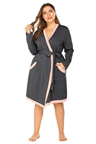 - Plus Size Women Waffle Bathrobe Lightweight Kimono Robes Spa Robes Sleepwear Loungewear Deep Grey