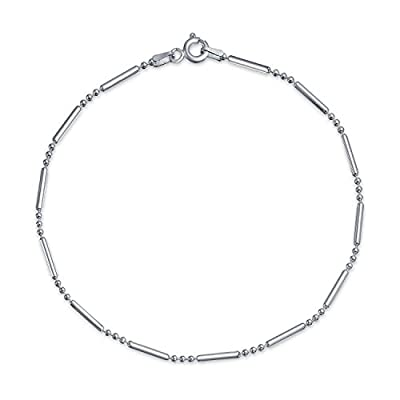 nice Bling Jewelry 925 Sterling Silver Bead Bar Ball Anklet Bracelet 9in Italy save more