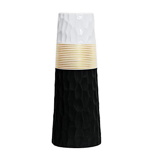 HCHLQLZ - Jarron de ceramica con Acabado en Oro Blanco de 11 Pulgadas, para decoracion del hogar, jarrones y centros de Mesa, para Amigos y Familia, Navidad, Boda, Despedida de Soltera