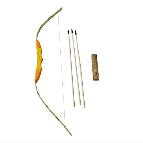 Wooden Bow and 3 Arrows with Quiver, Dragon Pattern Bow Body