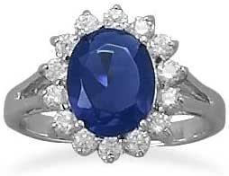 Sterling Silver CZ Blue Sapphire Replica Kate Middleton's ...