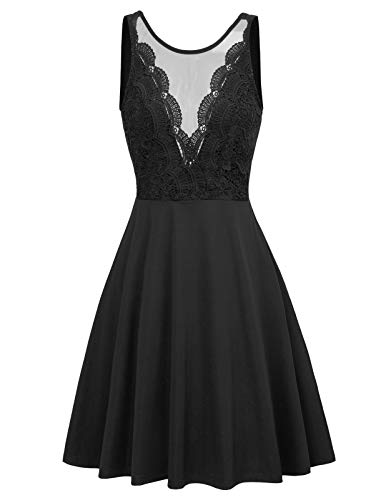 Women Lace Patchwork See Through Front A-Line Flare Party Dress M Black