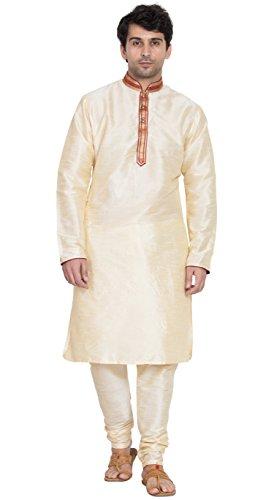 (Indian Kurta Pajama Long Sleeve Shirt Traditional Dress Salwar Kameez Pyjama -L)