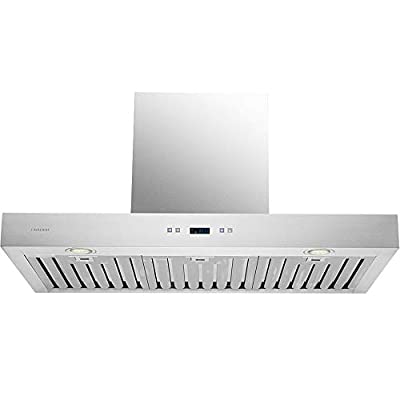 "DKB 36"" Inch Range Hood Wall Chimney Style In Brushed Stainless Steel With 600 CFM"