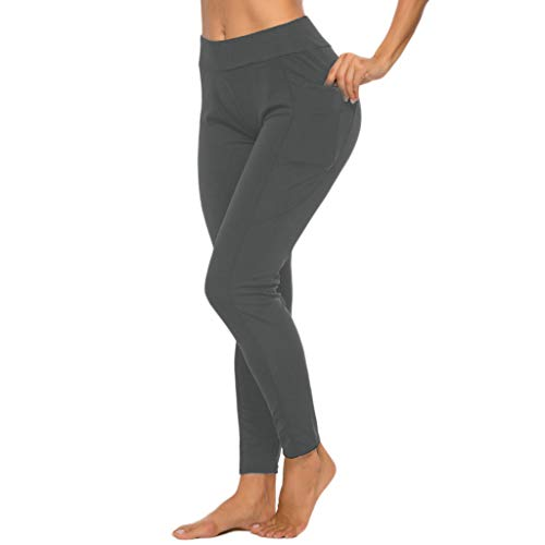 Hurrybuy Yoga Pants Tummy Control Workout Non See-Through Leggings with Pocket Gray